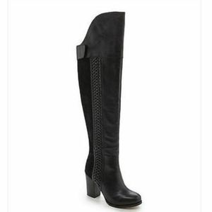Dolce Vita Myers Black Knee High Block Heel Boots